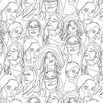 Un dessin au trait continu femme visage modèle sans couture. dessin au trait visage femme