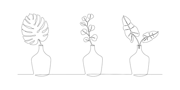 Un dessin au trait continu de feuilles de plantes dans des vases. fleurs de maison scandinaves élégantes dans un style linéaire simple. illustration vectorielle de course modifiable