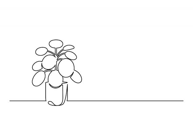 Dessin au trait continu d'une fleur dans un pot
