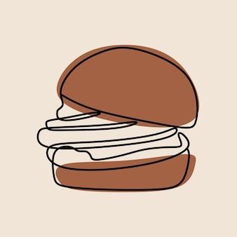 Dessin au trait continu hamburger oneline