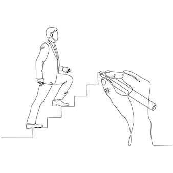 Dessin au trait continu homme d'affaires dessiné à la main gravissant l'échelle de l'illustration vers le vecteur de succès