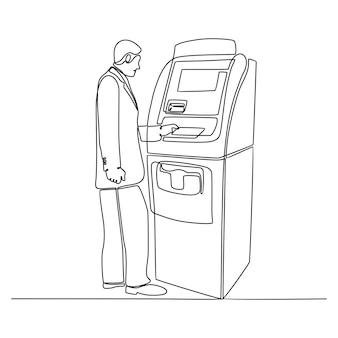 Dessin au trait continu d'homme d'affaires faisant la transaction avec l'illustration de vecteur de machine atm