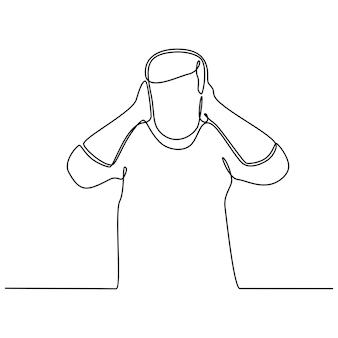 Dessin au trait continu d'un homme couvrant ses oreilles avec ses paumes illustration vectorielle
