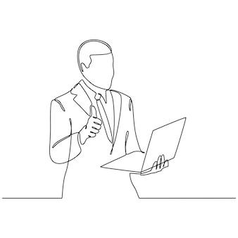 Dessin au trait continu d'un homme heureux faisant des gestes et regardant un ordinateur portable