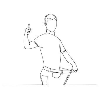 Dessin au trait continu de l'homme en jeans sur une illustration vectorielle de régime réussi