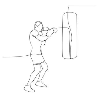 Dessin au trait continu d'un homme pratiquant la boxe vecteur