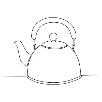 Dessin au trait continu d'illustration vectorielle de bouilloire à eau