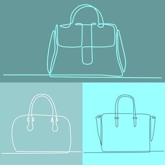 Dessin au trait continu d'illustration vectorielle de dames sac à main collection