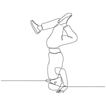 Dessin au trait continu d'une illustration vectorielle de danseur de musique hiphop contemporain