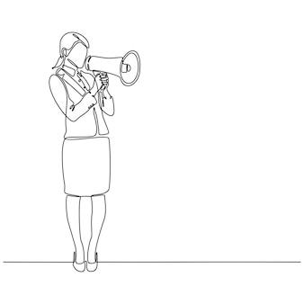 Dessin au trait continu d'une illustration vectorielle de haut-parleur mégaphone business woman
