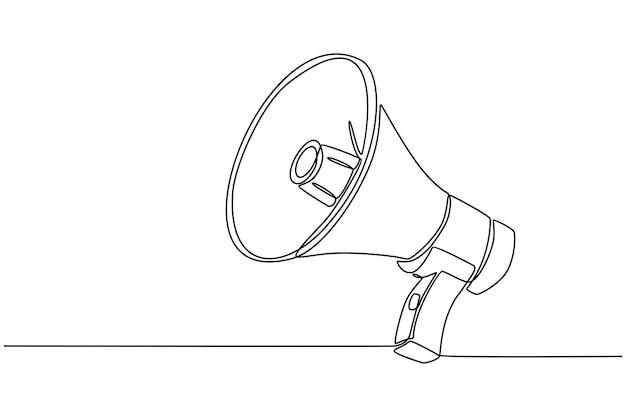 Dessin au trait continu d'illustration vectorielle de haut-parleur