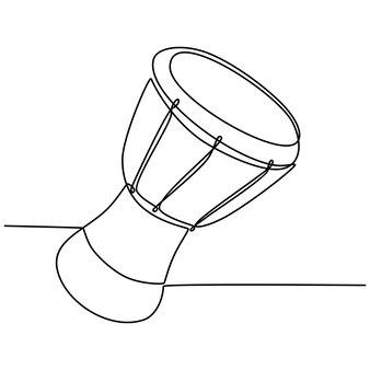 Dessin au trait continu d'une illustration vectorielle d'instrument de tambour africain musical