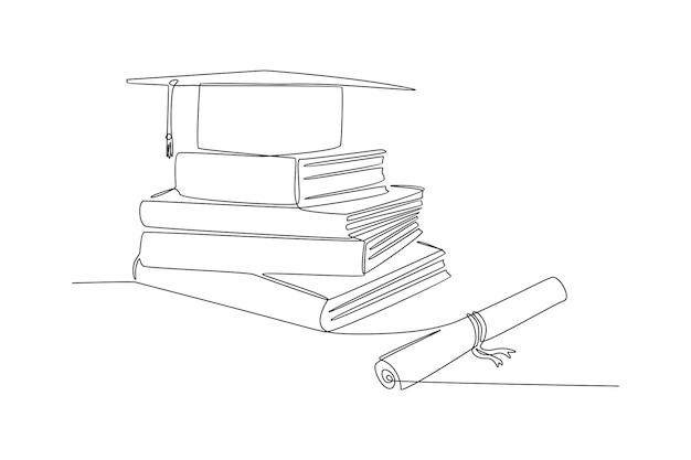 Dessin au trait continu d'illustration vectorielle de livre de chapeau académique et diplôme
