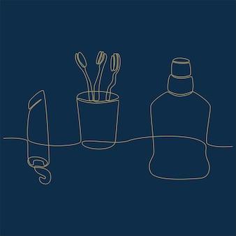 Dessin au trait continu d'illustration vectorielle de matériel de nettoyage dentaire