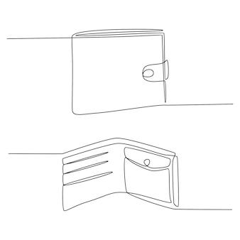 Dessin au trait continu d'illustration vectorielle de portefeuille