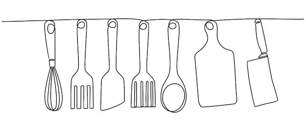 Dessin au trait continu d'illustration vectorielle d'ustensiles de cuisine