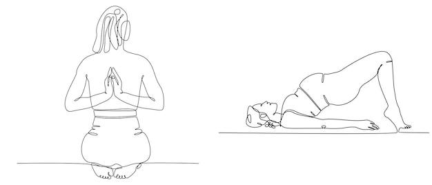 Dessin au trait continu d'illustration vectorielle de yoga lady