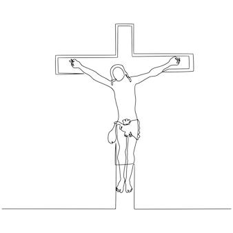 Dessin au trait continu de jésus sur l'illustration vectorielle croix