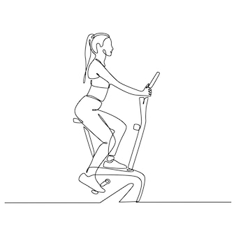 Dessin au trait continu jeune femme chevauchant une illustration vectorielle de vélo stationnaire sports concept