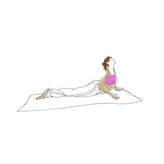 Dessin au trait continu d'une jeune femme faisant des exercices de fitness yoga