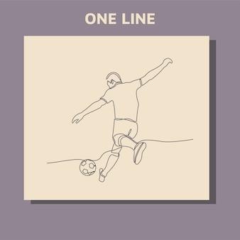 Dessin au trait continu d'un joueur de football masculin joue des coups de pied dans un ballon.