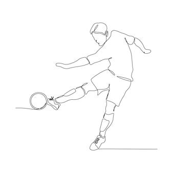 Dessin au trait continu d'une joueuse de volley-ball professionnelle isolée avec ballon