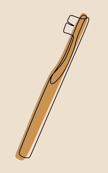 Dessin au trait continu une ligne de brosse à dents