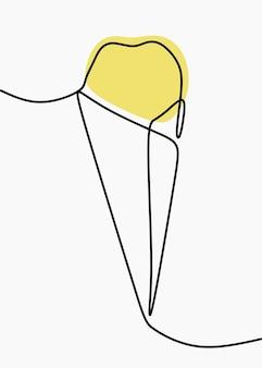 Dessin au trait continu en ligne de cornet de crème glacée