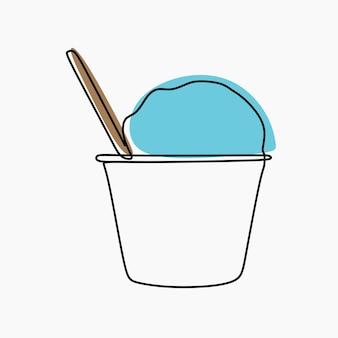 Dessin au trait continu en ligne de coupe de crème glacée
