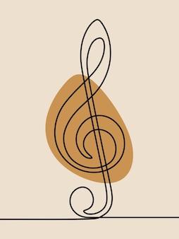 Dessin au trait continu d'une ligne de note de musique