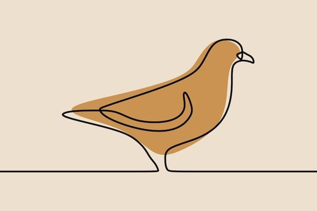 Dessin au trait continu d'une ligne d'oiseau de colombe