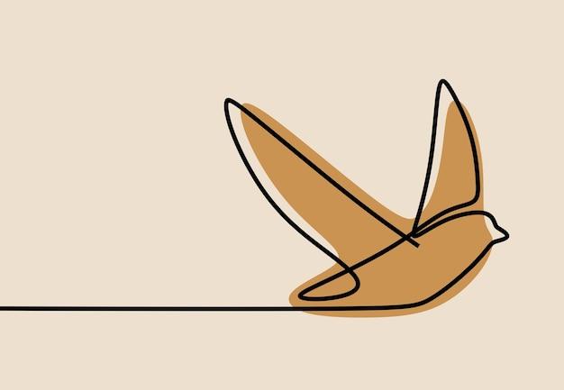 Dessin au trait continu d'une ligne d'oiseau