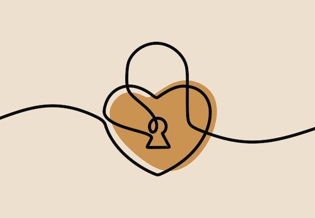 Dessin au trait continu d'une ligne de serrure de coeur