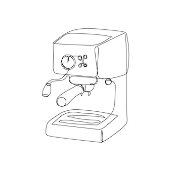 Dessin au trait continu de la machine à café dessin au trait de la cafetière électrique de la cuisine