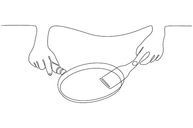 Dessin au trait continu d'une main cuisinant avec une illustration vectorielle de pot