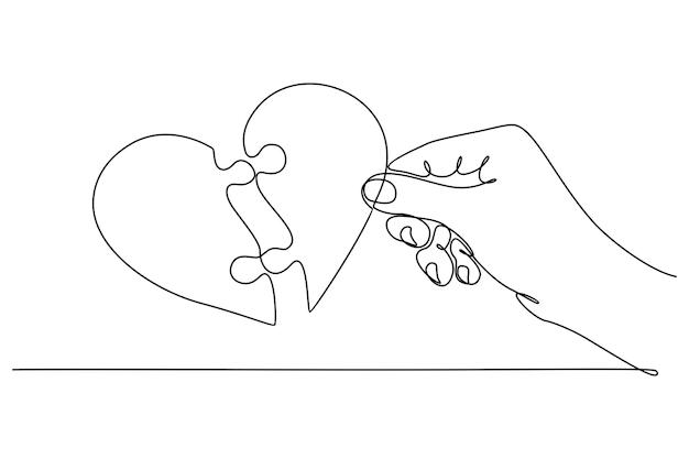 Dessin au trait continu d'une main avec une illustration vectorielle de coeur de puzzle