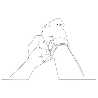 Dessin au trait continu d'une main avec une illustration vectorielle de montre-bracelet