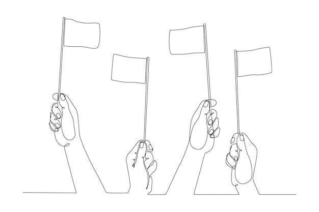 Dessin au trait continu main levant le drapeau abandon concept illustration vectorielle