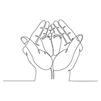 Dessin au trait continu de la main de la mère avec des pieds de bébé concept de vecteur de maternité familiale