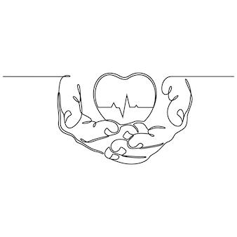 Dessin au trait continu main tenant coeur avec illustration vectorielle de ligne ecg santé concept