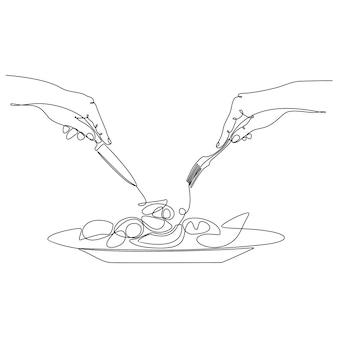 Dessin au trait continu d'une main tenant une fourchette avec une assiette d'illustration vectorielle de nourriture