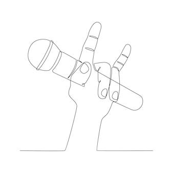 Dessin au trait continu main tenant illustration vectorielle de microphone