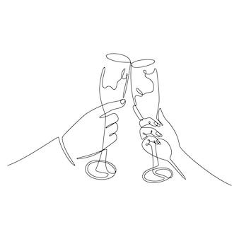 Dessin au trait continu de mains masculines et féminines acclamant avec le concept de fête des lunettes de champagne