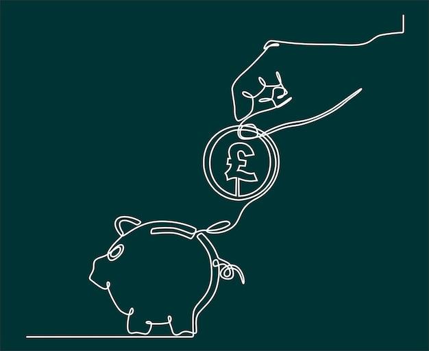 Dessin au trait continu des mains avec des pièces de monnaie et concept d'économie de devise tirelire