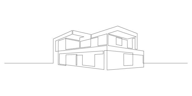 Un dessin au trait continu d'une maison moderne à l'architecture minimaliste. villa à la mode de deux étages dans un style linéaire doodle isolé sur fond blanc. illustration vectorielle.