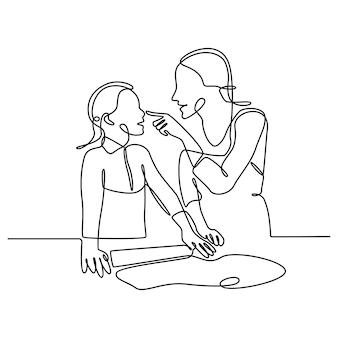Dessin au trait continu de la mère fille cuisinant dans la cuisine pétrissant la pâte et cuisant des gâteaux