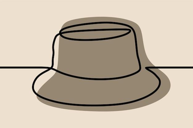 Dessin au trait continu oneline chapeau seau