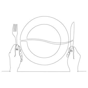 Dessin au trait continu de la plaque à la main avec illustration vectorielle de couteau et fourchette