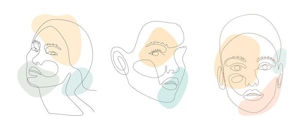 Dessin au trait continu de portrait de visages de belles femmes avec des formes abstraites.