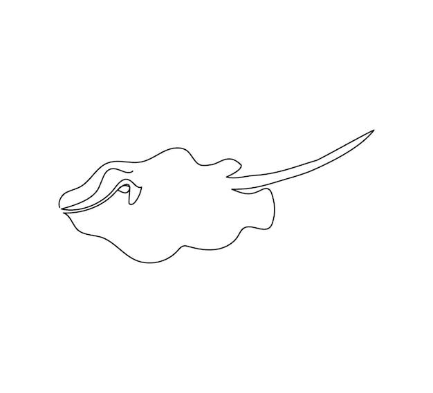 Dessin au trait continu de renard de mer de poisson stingray un dessin au trait de fruits de mer de poissons prédateurs